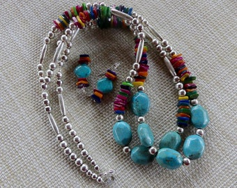 28 Inch Vintage Double Strand Turquoise and Colorful Shell Necklace with Earrings