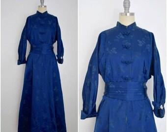 Vintage 1950s Dynasty Dark Blue Silk Damask Hostess Dress
