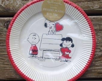vintage snoopy peanuts hallmark dessert paper plates nos deadstock  8 ct
