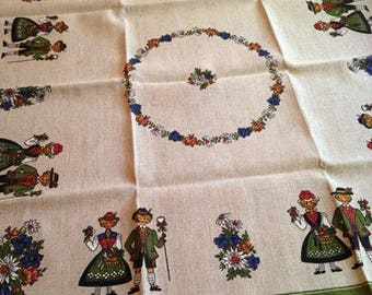 vintage nos mid century linen table cover / floral / flowers / danish / thanksgiving / folksy