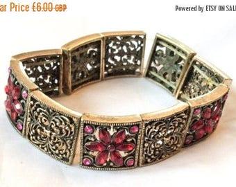 SALE Red Rhinestone Stretch Bracelet Vintage Jewelry SUMMER SALE