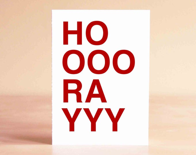 Funny Graduation Card - Thank You Card - Congratulations Card - Blank Card - HOOOORAYYY
