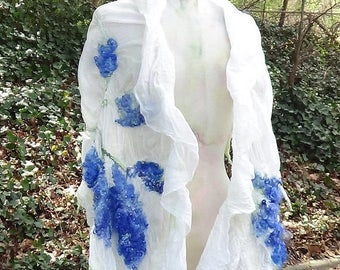 Wedding bridal shawl, Wedding scarf wrap, White bridal robe, Formal felted scarf shawl Nuno felted wool scarf White merino wool felted scar