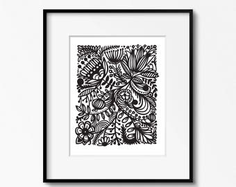 Floral line art 8x10 printable - digital download - black and white art - DIY home office decor - printable wall art