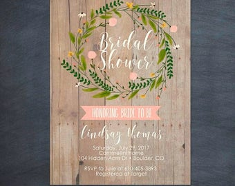 SUMMER SALE Rustic Watercolor Floral Wreath Baby Shower Bridal Shower Invitation Invite Printable Card