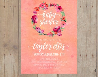 Watercolor Floral Coral Wreath Baby Shower Invitation Invite 5x7 Printable or Printed Cards