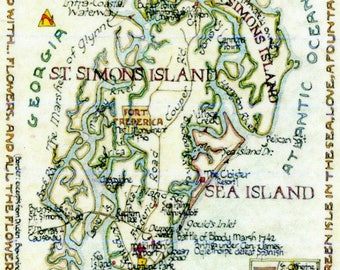 Map of St. Simons, GA in Two Sizes