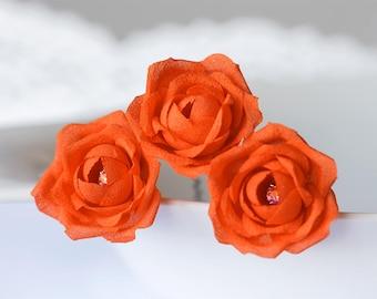 719 Orange wedding flower, Bridal rhinestones flower hair pin, Flower hair pin, Bridal flower hair accessory Orange wedding flower hair pins