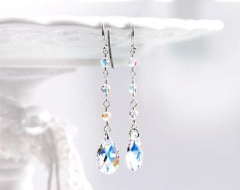 846_ Bridal silver earrings, SWAROVSKI crystal earrings, Sterling silver 925 earrings, White AB earrings, Bridal teardrop silver earrings.
