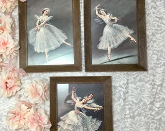 Set of Three Vintage Framed Carina Ballerina Prints