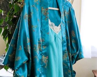Teal Luxe Satin Kimono Jacket