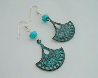 Turquoise Earrings, Bohemian, Sterling Silver, Turquoise Jewelry, Boho, Patina, Fan Shaped Earrings, Blue Earrings, Everyday Earrings