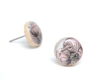 light pink floral earrings summer outdoors wood studs post earrings pink earrings wood wood earrings starlight woods