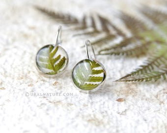 Real Fern earrings - botanical handmade jewelry with pressed fern
