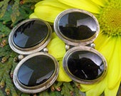 BLACK ONYX MEXICAN Sterling Taxco vintage clip on earrings