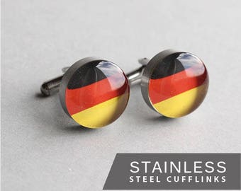 German Flag cufflinks, Surgical steel cuff link, Wedding cuff links for groom, groomsmen, men's cufflinks, gift for him