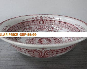 French Vintage Transferware Bowl....Sarreguemines Parisia in Rose....Ironstone...Toilette Bowl....Saladier