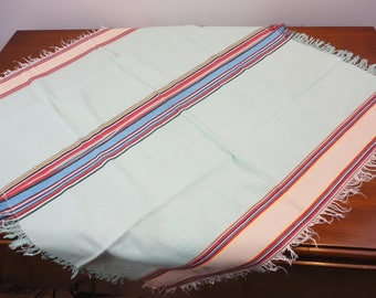 Fringed Striped Lunch Cloth  Mint Green Predominately  Square
