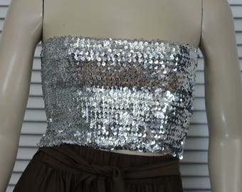 Vintage Sequined Short Tube Top  Silver Small/Medium 80s / 90s
