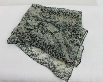 Vintage Scarf Snake Skin Pattern Nylon Chiffon 1970s