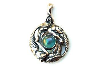 Sterling Silver Mermaid & Merman Pendant with Aqua Aura Stone