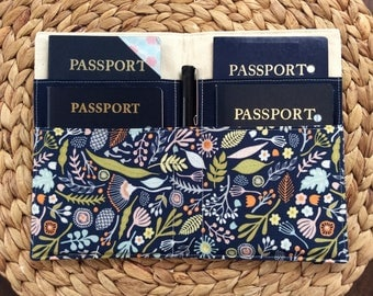 Family Passport Holder,  Holds 4 Passports, Succulents Fabric, Nature Florals in Navy, International Travel, APO Travel Accessory