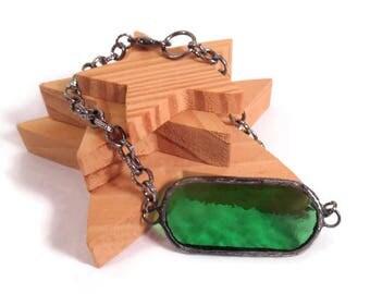 Green Bracelet Stained Glass Bracelet Handmade Bracelet Glass Chain Bracelet Green Bar Bracelet Soldered Jewelry Glass Metal Jewelry Unique