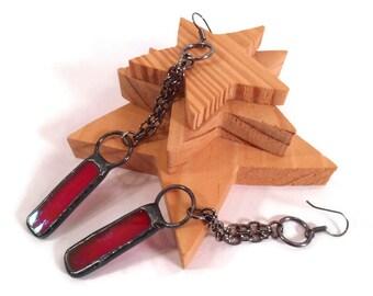 Red Glass Earrings Stain Glass Earrings Long Rectangle Earrings Chain Earrings Handmade Jewelry Red Earrings Long Dangler Red Dangle Earring