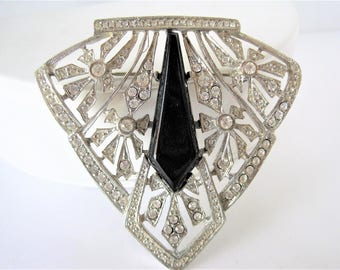 Les Bernard Brooch, Art Deco Style,  Black Cabachon Center, Victorian Revival, 60's Clear Brooch