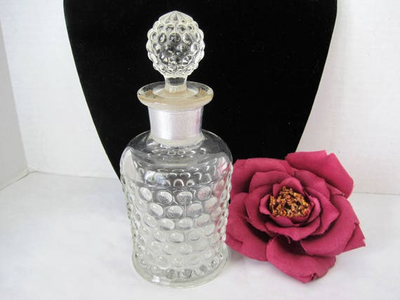 Perfume Bottle - Vintage Hobnail Glass  - Ground Glass Stopper - 50's cologne