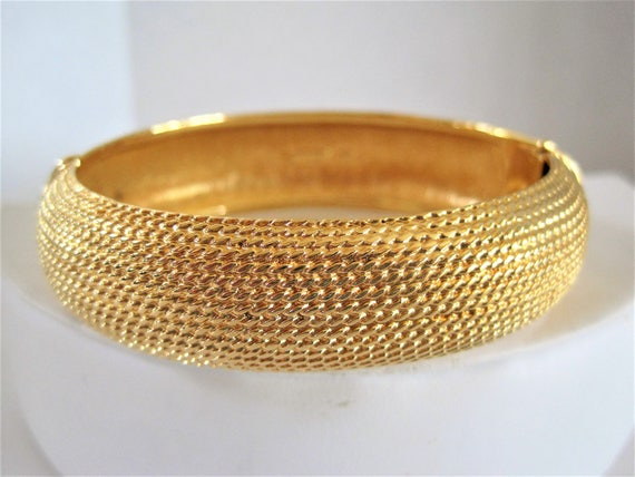 Monet Brushed Gold Bangle, Hinged Bracelet, Textured Gold Bangle