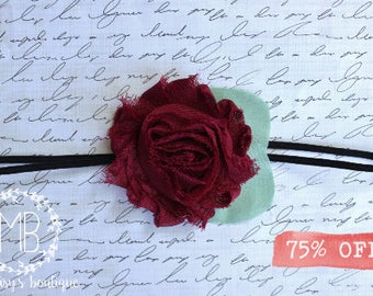 Burgundy Shabby Flower Headband/ Newborn Headband/ Baby Headband/ Flower Girl/ Wedding/ Photo Prop