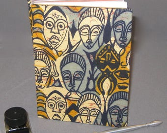African Tribal Mask Sketchbook - 120 pages - orange coptic stitching.