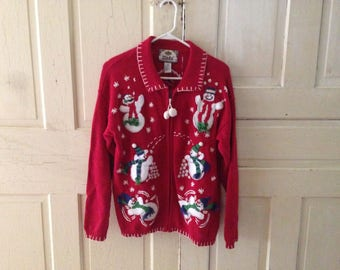 Awesome Zip-up Festive Christmas Sweater!