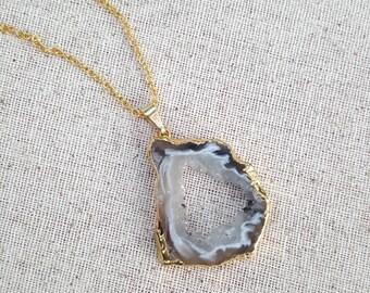 Agate Slice Necklace, Geode Slice Necklace, Crystal necklace, Gift ideas, Druzy Necklace