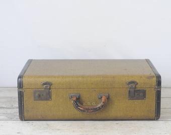 Antique/Vintage Belber? Suitcase Luggage Light Brown Herringbone Travel Overnite Bag Trunk