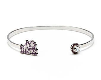 Texas Christian University Bracelet | TCU Horned Frogs - Purple Frog with Crystals | Officially Licensed Texas Christian University Jewelry