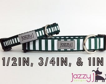 Hunter Green and White Striped Dog Collar