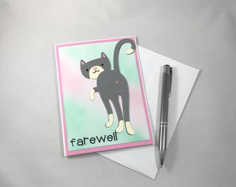 Farewell Card, Cat Butt Card, Goodbye Card, Paper Handmade Card, Cat Card, Funny Goodbye Card, Farewell Gift