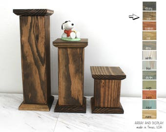 Wood Pedestals Set, Jewelry Platforms Risers, Wood Product Platforms, Wooden Risers, Craft Show Displays, Retail Shop Fixtures