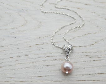 Pink Pearl Necklace With Intricate Silver Bail, Sterling Silver
