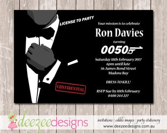 James Bond 007 Birthday Invitation - YOU PRINT - BD143TA