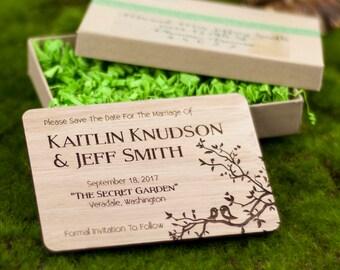"Solid Wood Wedding Save-the-Date Sample Set - ""Simple Love Birds"" Design Engraved on Lyptus - Plus Credit Towards Final Order"