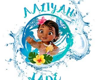 baby moana with water and hawaiian flowers...digital download jpeg..  AND png (BONUS)