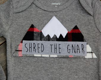 Shred the Gnar Baby Clothing, Powder Chaser Mountain Bodysuit, Baby Mountain Shirt, Colorado Baby, Snowboarding Baby, Adventure Baby