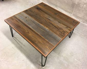 Reclaimed wood coffee table with hairpin legs - Free shipping