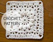 PDF Crochet Pattern - Popcorn and Lace Square - US and UK terms - crochet square, crochet block