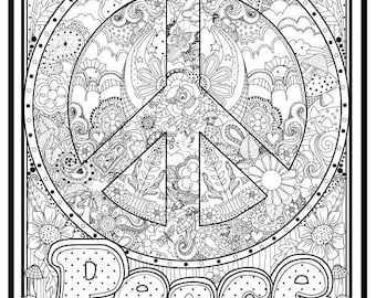 Peace Sign Illustrated to color,11x14, Downloadable print to color, Fun design to color for all ages
