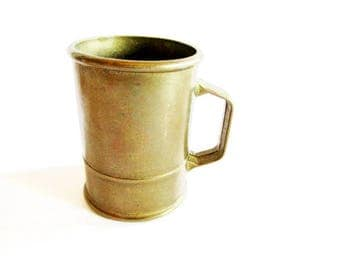 Old Little German Vintage Primitive Rustic Brass Coffee Measuring Cup, Rustic Farmhouse Home Decor