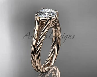 14kt rose gold twisted rope engagement ring RP8108